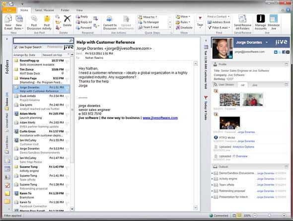 Jive Social Networking Capabilities In Outlook