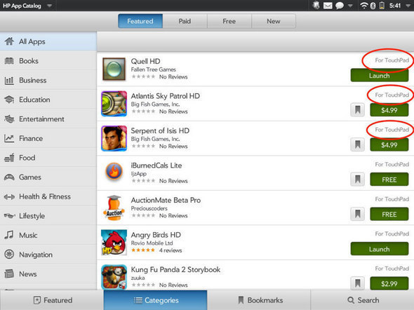 TouchPad App Catalog