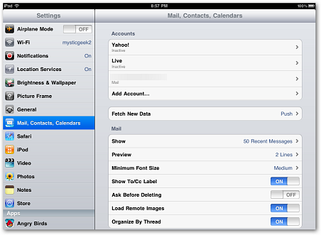 how to remove email from ipad